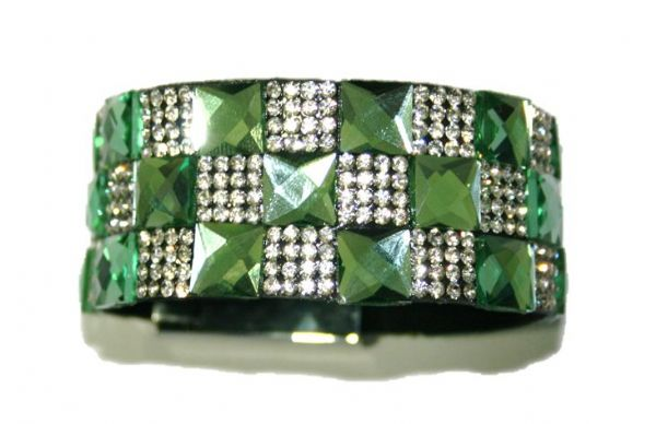 10mm faceted green square glass + 2mm clear diamante stone -- c4009040